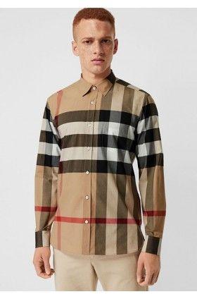 پیراهن چهارخانه شتری مردانه بربری