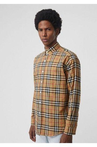 پیراهن شتری چهارخانه مردانه بربری