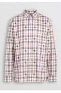 پیراهن مردانه سفید طرح دار بربری-3