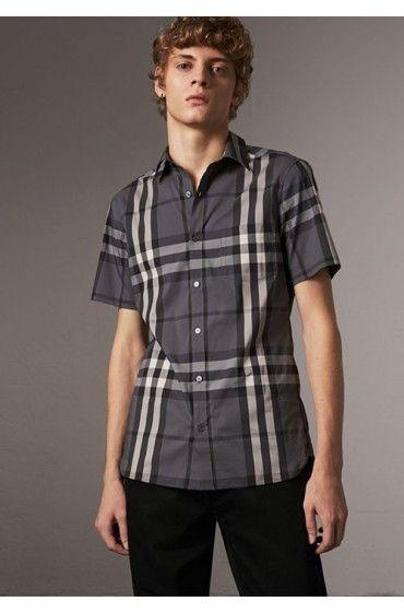 پیراهن چهارخانه طوسی مردانه بربری