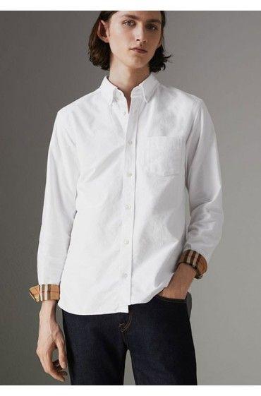 پیراهن سفید ساده اکسفورد بربری